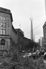 A foggy day with the Dominion Public Building & CN Tower