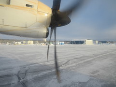 Taxiing for take-off in First Air ATR 42-500 plane at Inuvik Airport (YEV)